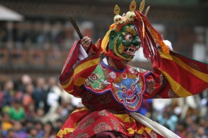 A traditional dancer at the Punakha Festival in Bhutan.