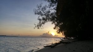 Sunset from the beach in Palau