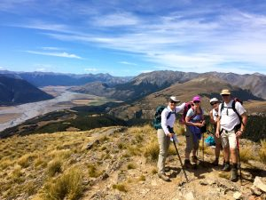 New Zealand Southern Alps with hikers